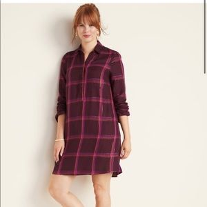 Old Navy Plaid Popover Shirt Dress